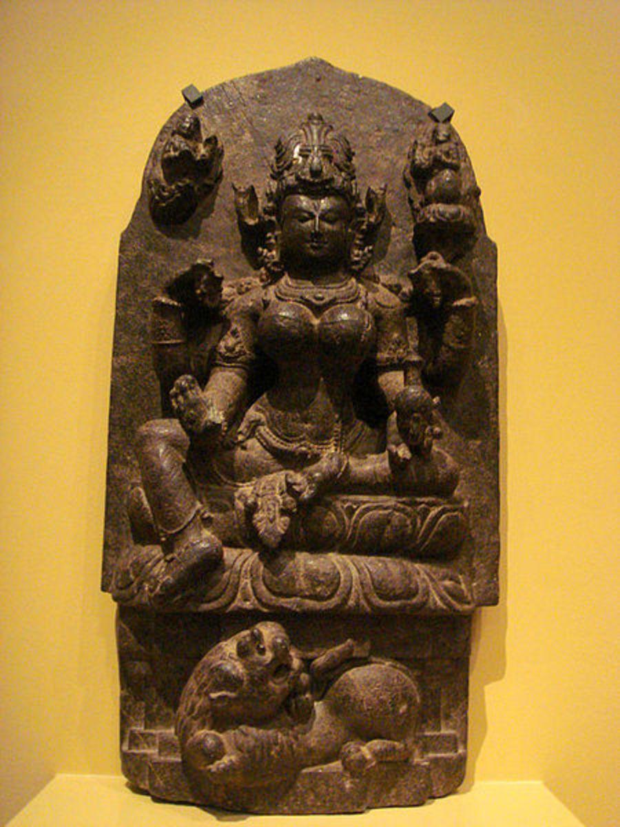 Parvati, consort of Shiva, the goddess symbolizes courage and pugnacity (durga).