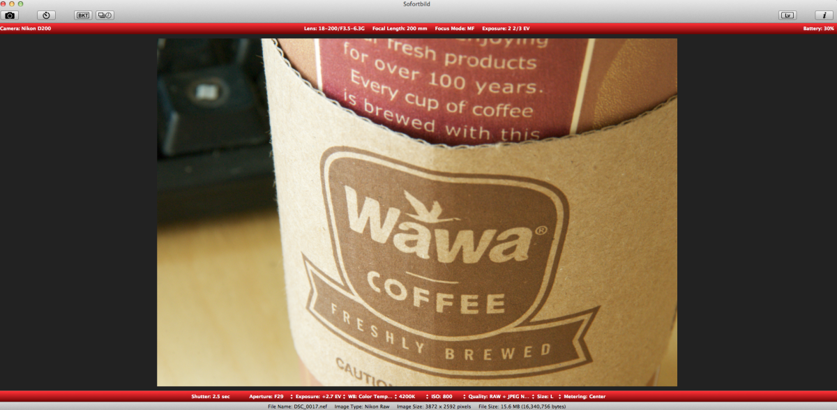 Here is a sample shot of the WaWa coffee I have been drinking.  It is very easy to change the F-Stop, Shutter Speed, White Balance, ISO, etc.  Previewing this on the computer definitely helps to ensure that your shot is properly dialed in.