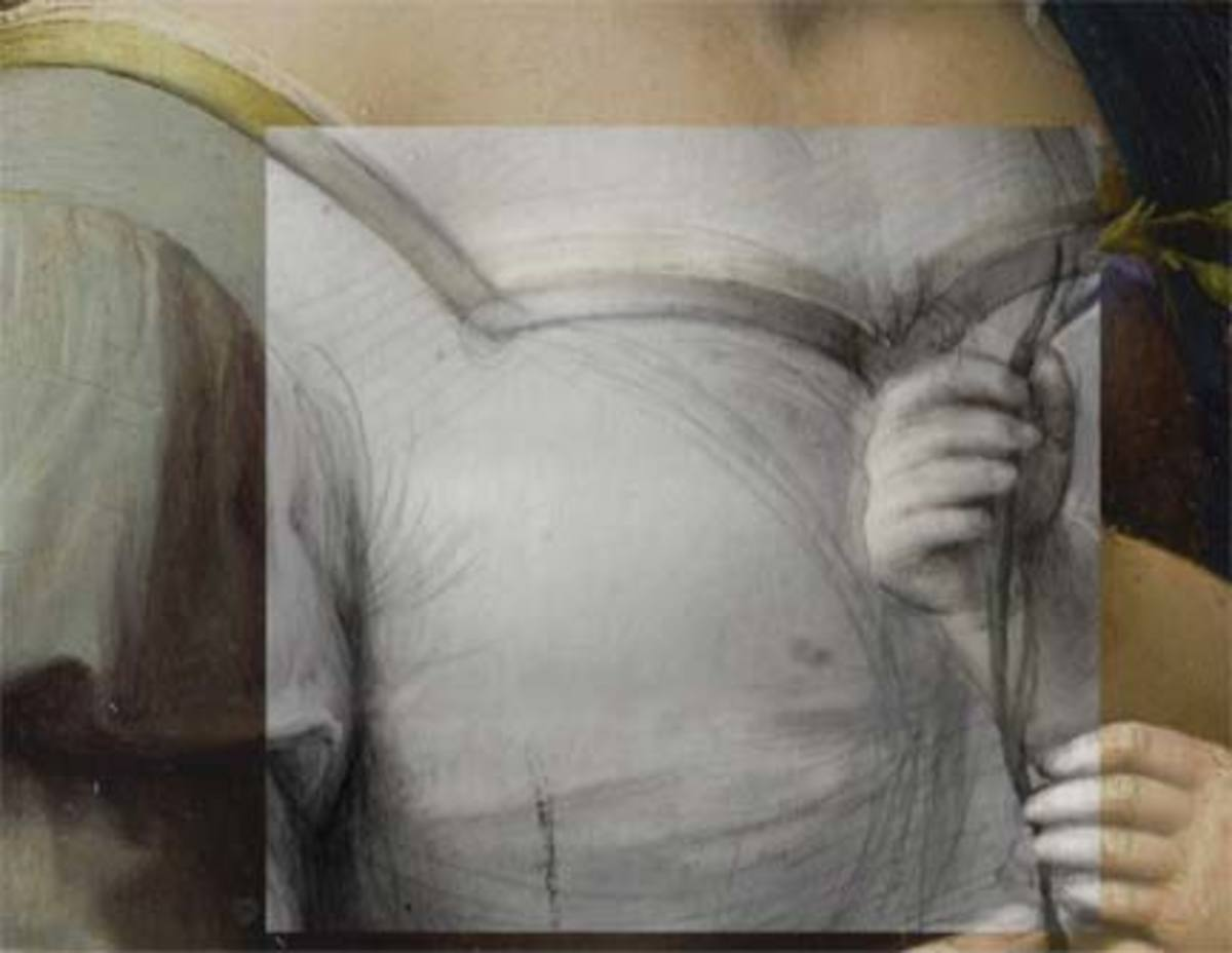 Detail from Raphael, The Madonna of the Pinks, showing changes to the underdrawing