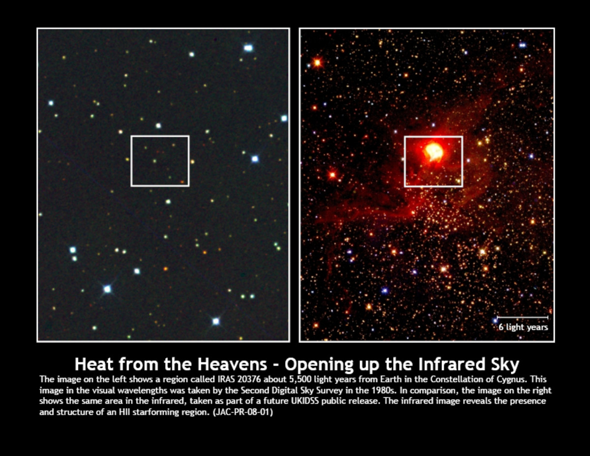 Region called IRAS 20376 about 5,500 light years from Earth, in the visual wavelengths (left hand side image) and in the infrared (image on right hand side)