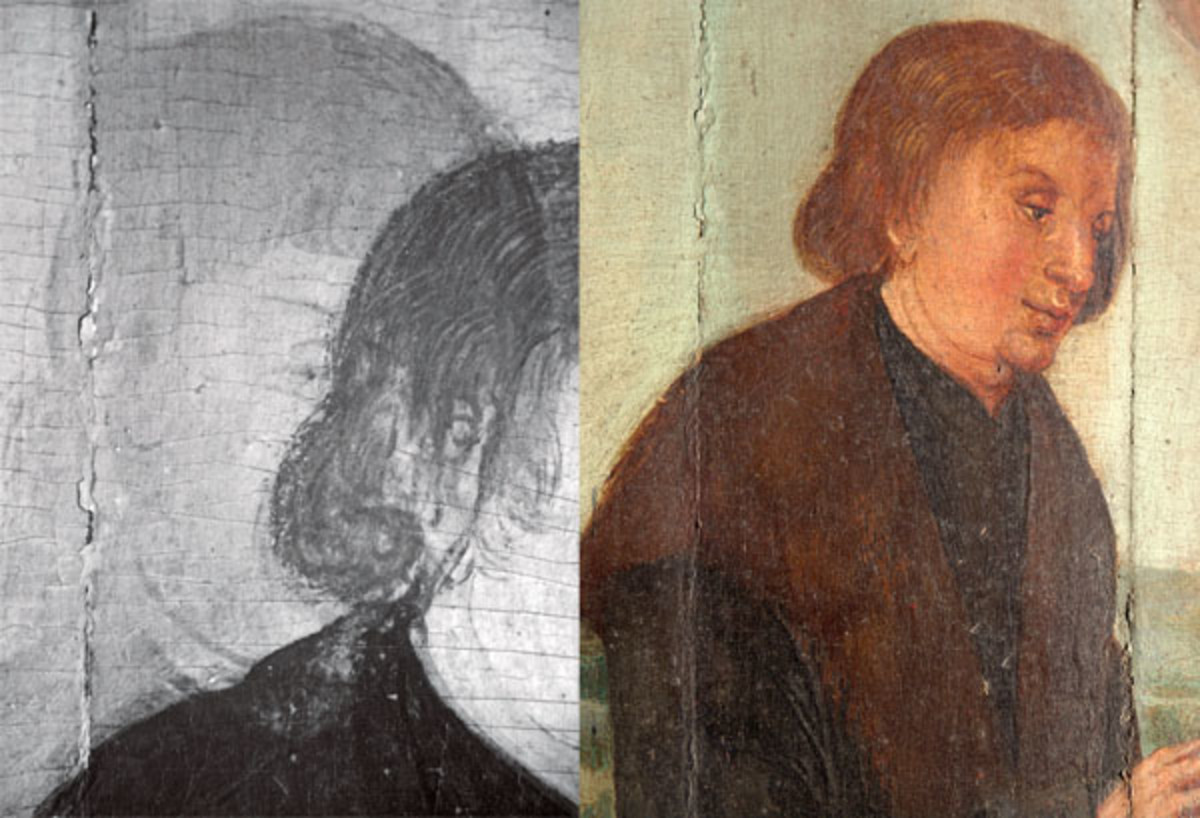 Image on the left shows details of other drawings that were originally included, viewed through infrared reflectography, but later on painted over, that ae not visible in visible light.