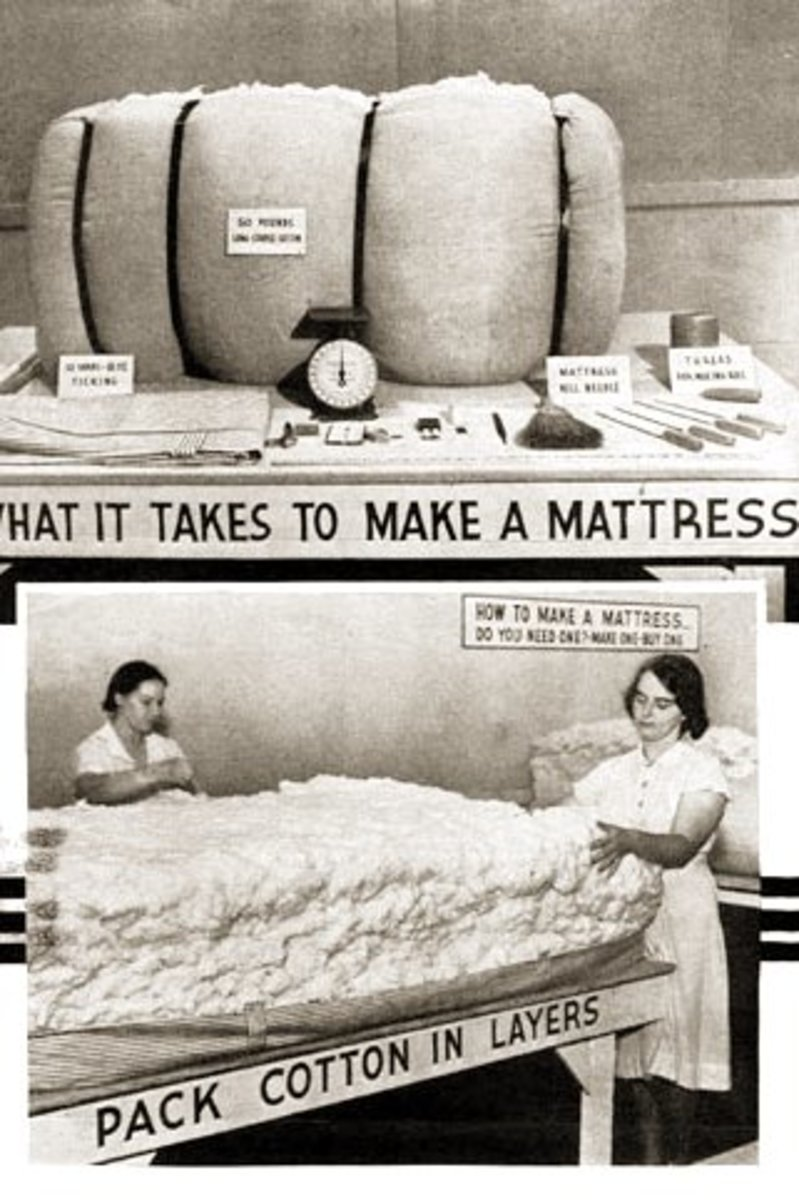 """A USDA circular promoting home production of cotton mattresses. Materials needed to make a mattress included """"10 Yards--8 oz. Ticking,"""" """"50 Pounds Long Staple Cotton,"""" """"Mattress Roll Needle,"""" and """"Thread for Making Roll."""" Photo: Wikipedia Commons"""
