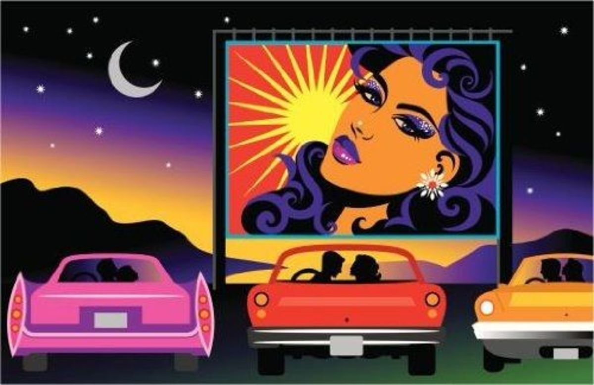 Couples at Drive-in Movie Theater - Peel and Stick Wall Decal by Wallmonkeys