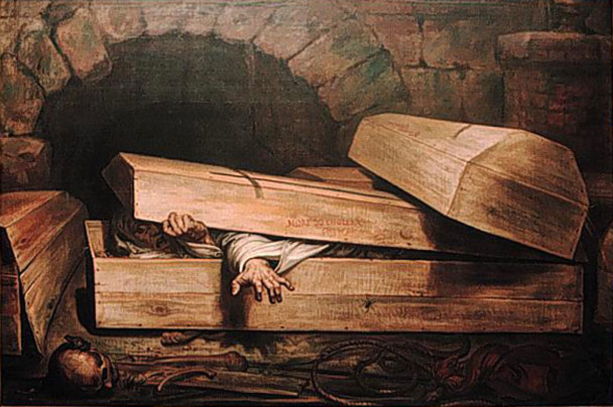 1854 painting by Antoine Wiertz titled The Premature Burial