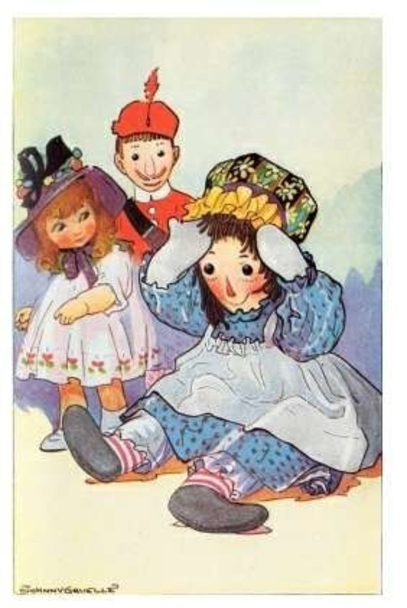 Raggedy Ann and her toy friends