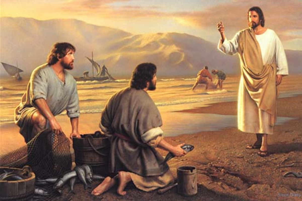 Jesus calling upon his disciples Peter and Andrew