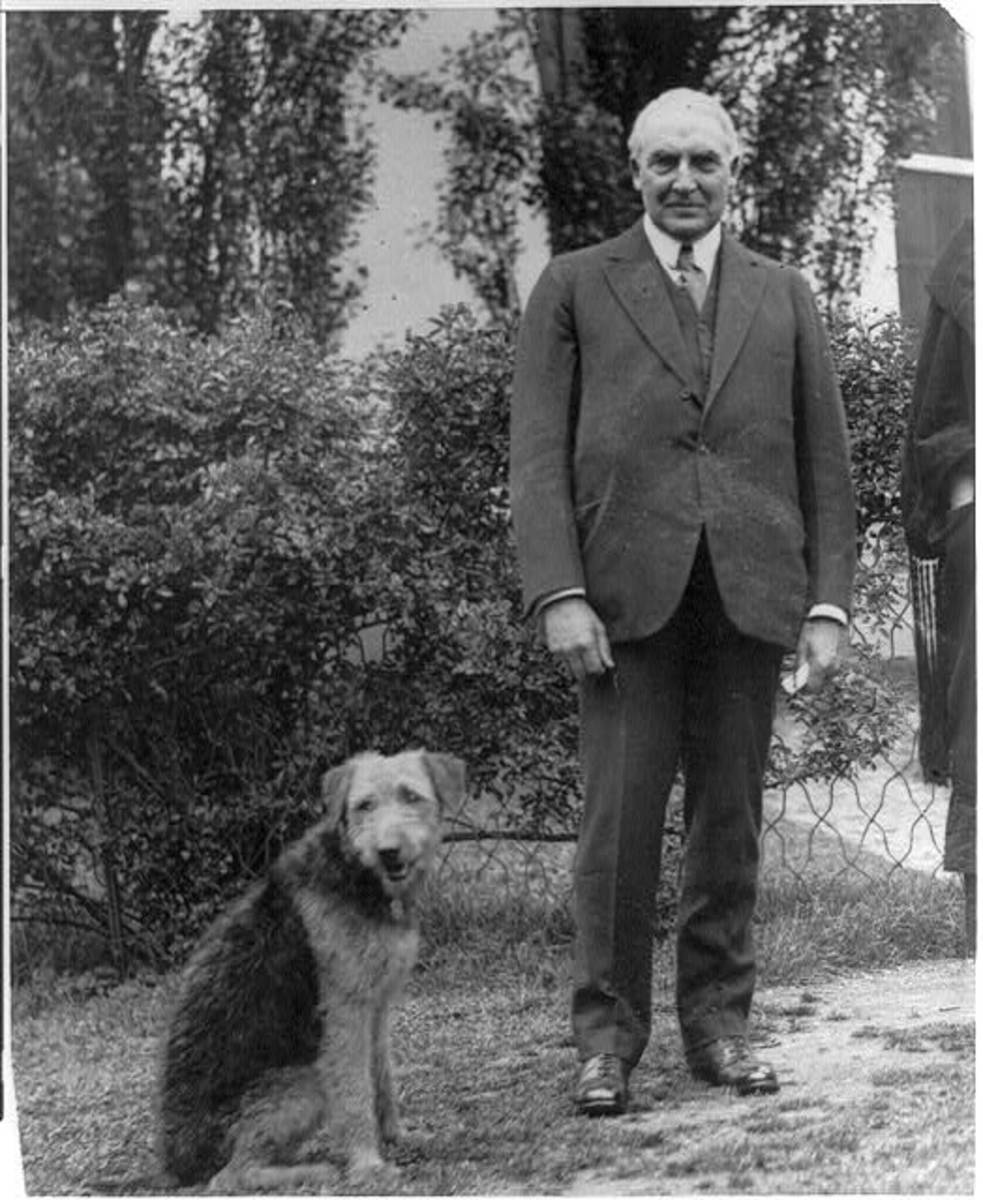 President Warren Harding and his dog, Laddie Boy.