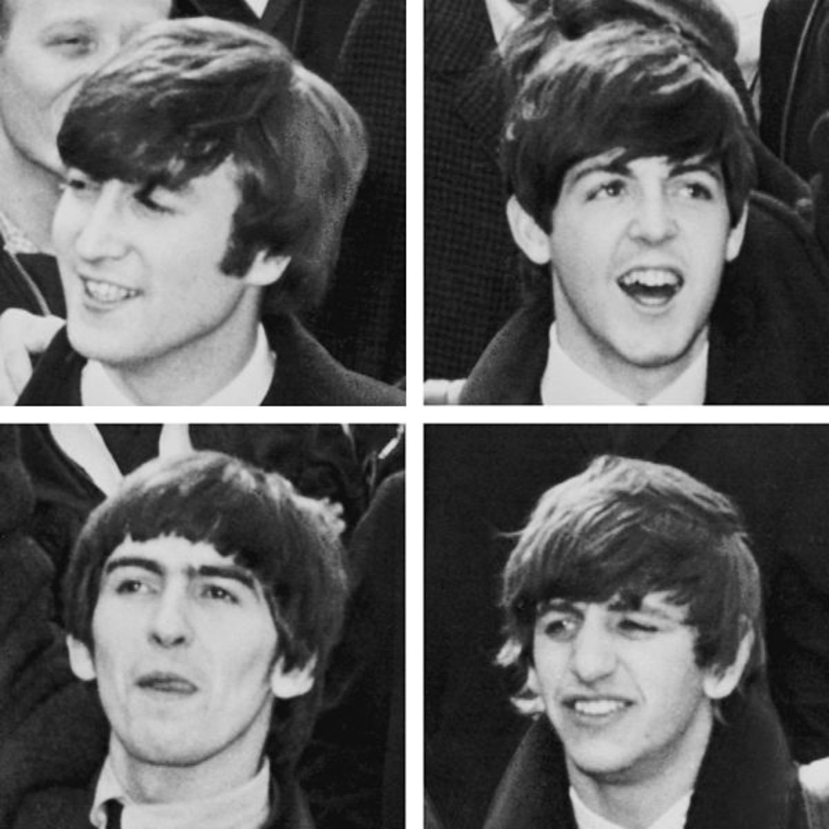 The Beatles in 1964 Top: Lennon, McCartney Bottom: Harrison, Starr