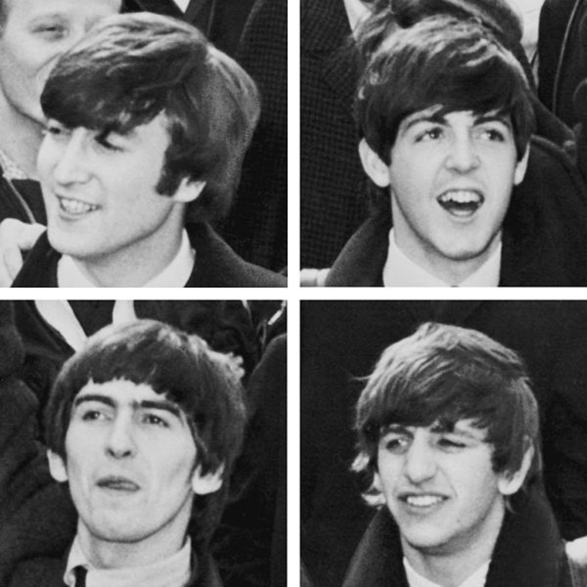 The Beatles in 1964 Top: Lennon, McCartney Bottom: Harrison, Starr