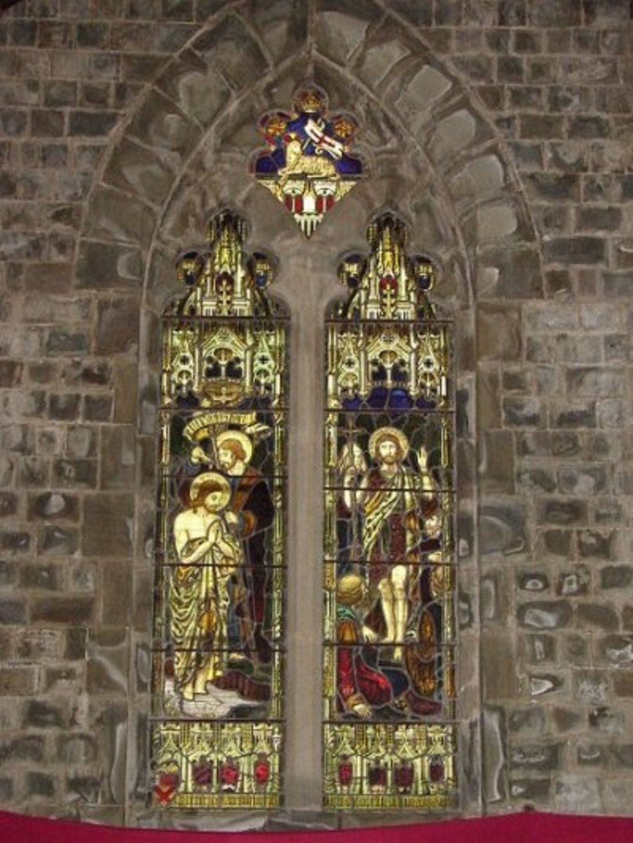 Belgian stained-glass windows donated by Lady Elgin