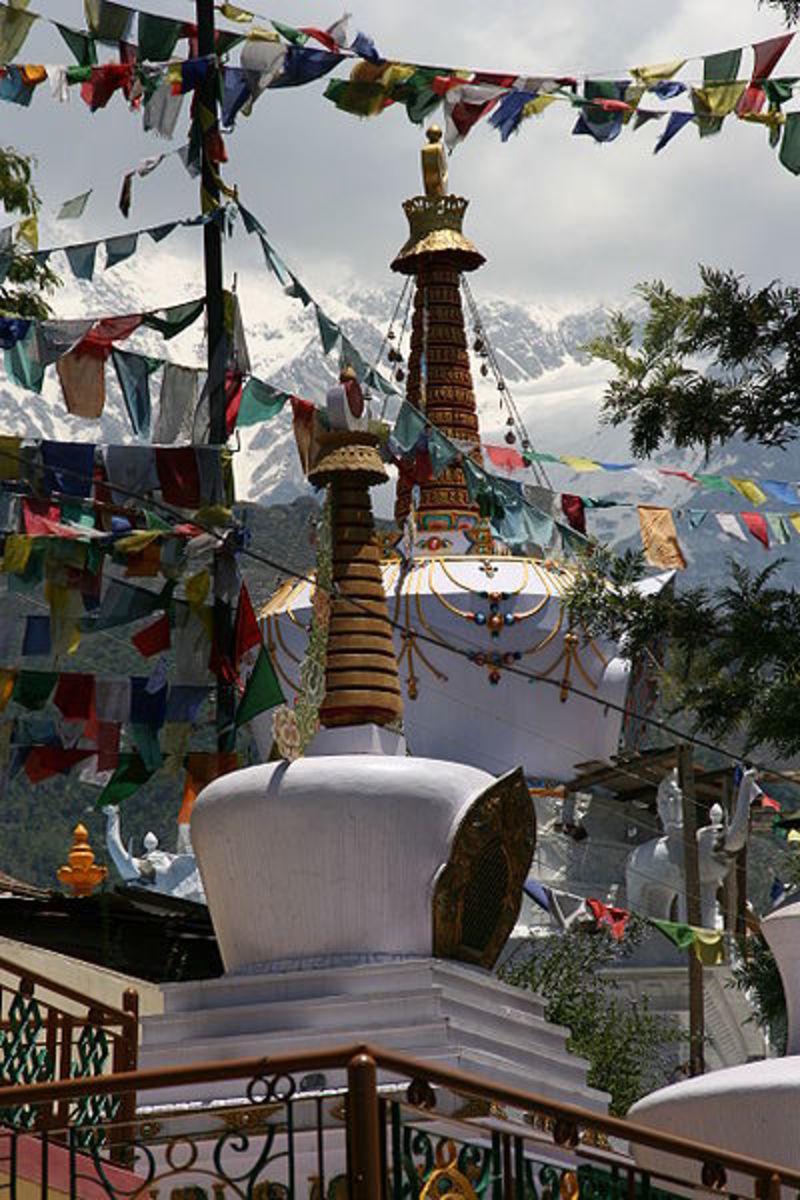 Tibetan Stupas below the Tsuglag Khang Temple in McLeod Ganj,