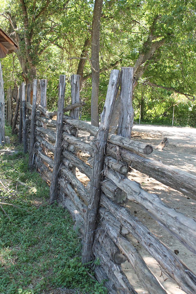 Post and rail fence.