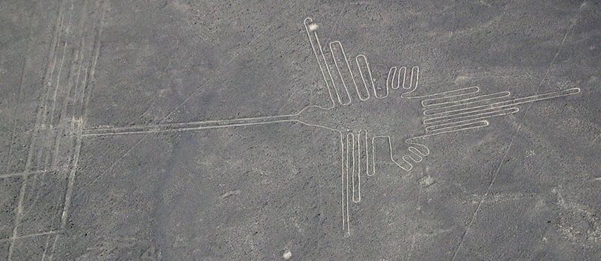 Aerial photograph of hummingbird image as part of Nazca Lines in Peru