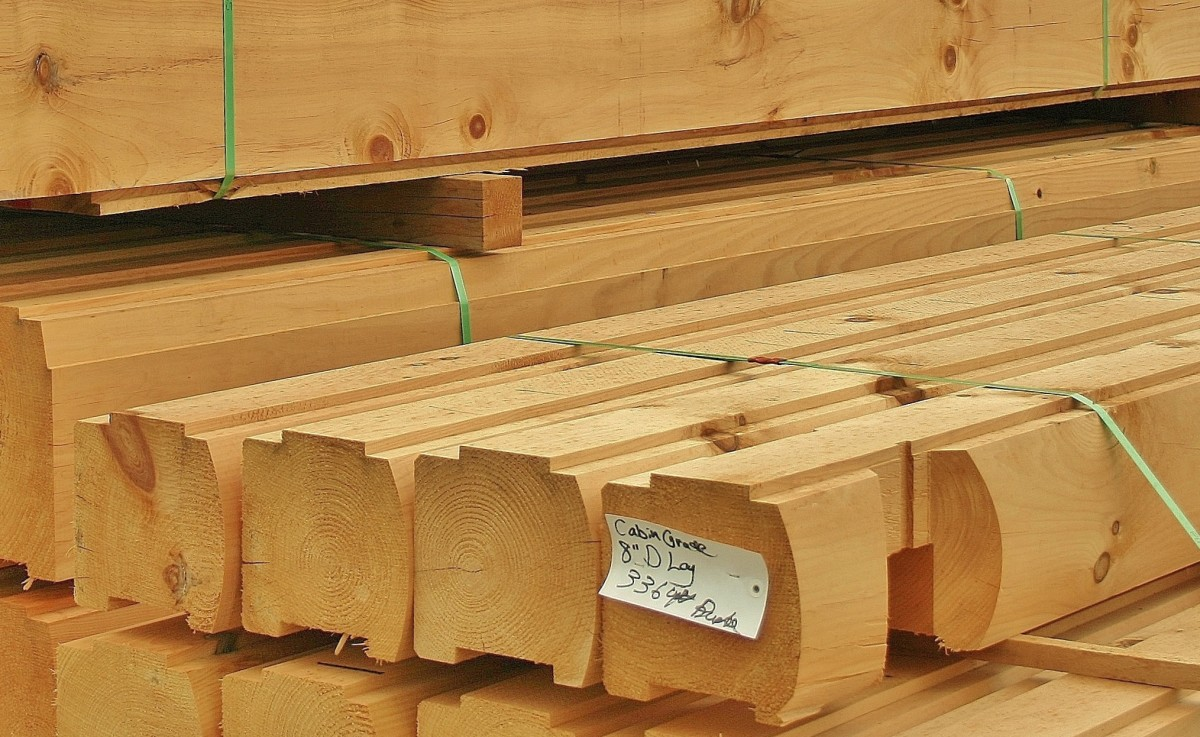These cabin-grade 4-inch logs have been treated with borate rather than kiln-dried.