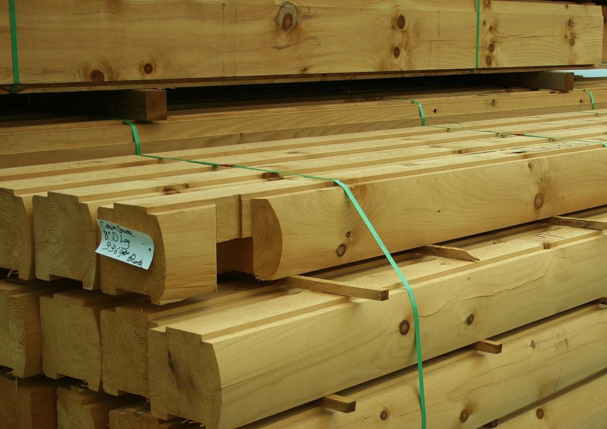 Four-inch cabin grade logs