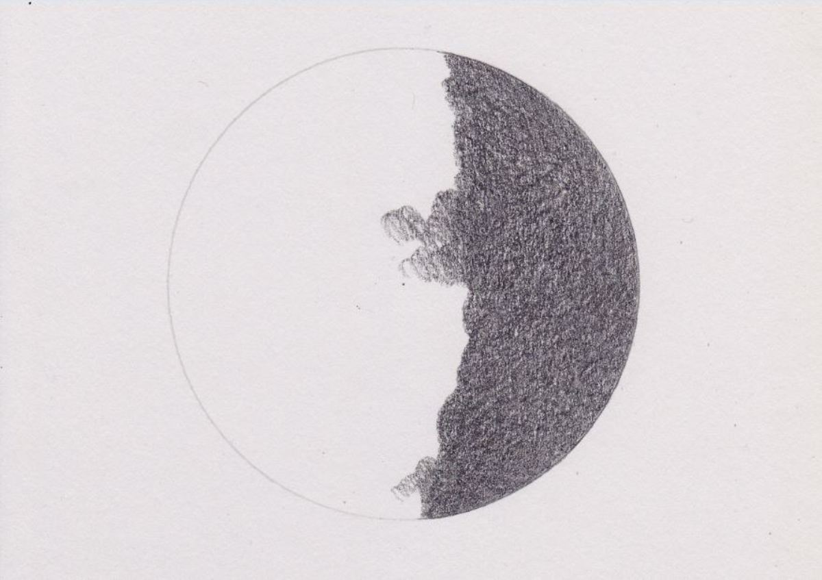 Short, circular stroke with medium manual pressure on heavy-weight drawing paper with 2B graphite.