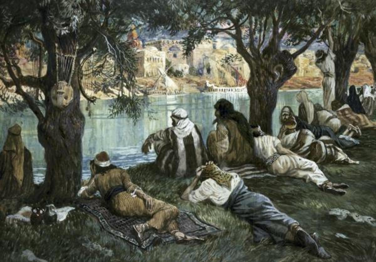 'By the Waters of Babylon' Painting by James Jacques Joseph Tissot (1836 - 1902)