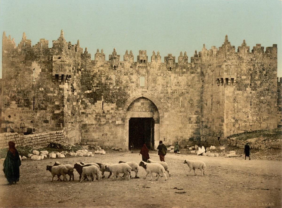 The Damascus Gate entrance to the Old City of Jerusalem, 1890.