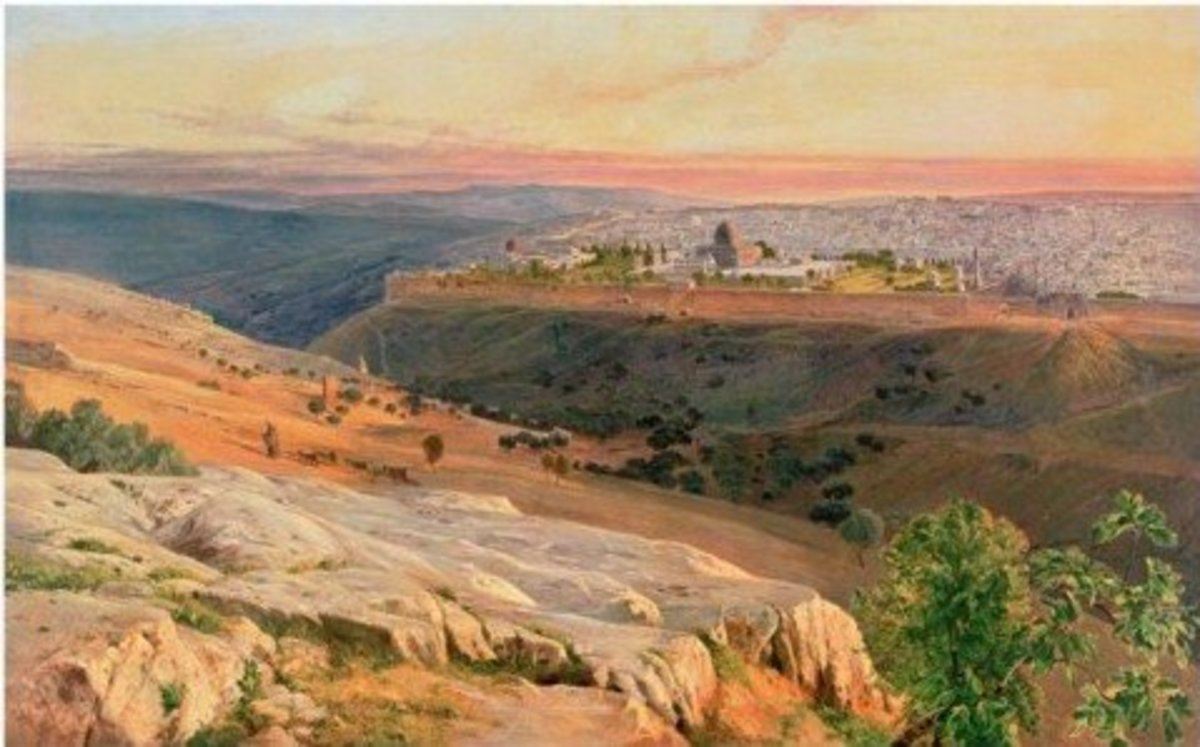Jerusalem from the Mount of Olives, painting by Edward Lear, 1859