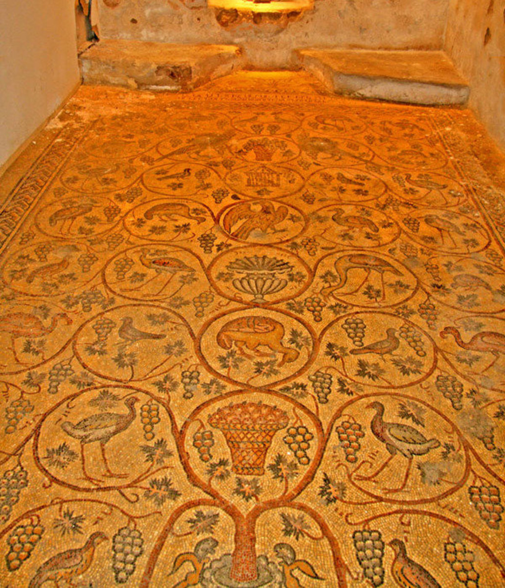 Armenian Bird Mosaic Floor in Jerusalem