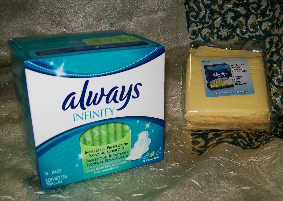 Always Infinity® heavy flow pads vs Always Maxi regular flow pads