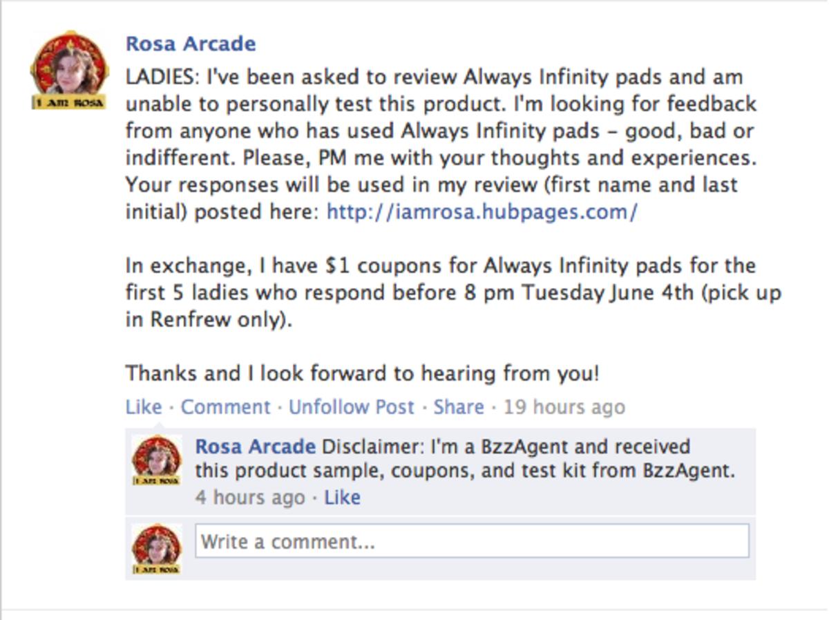 A Facebook call for feedback