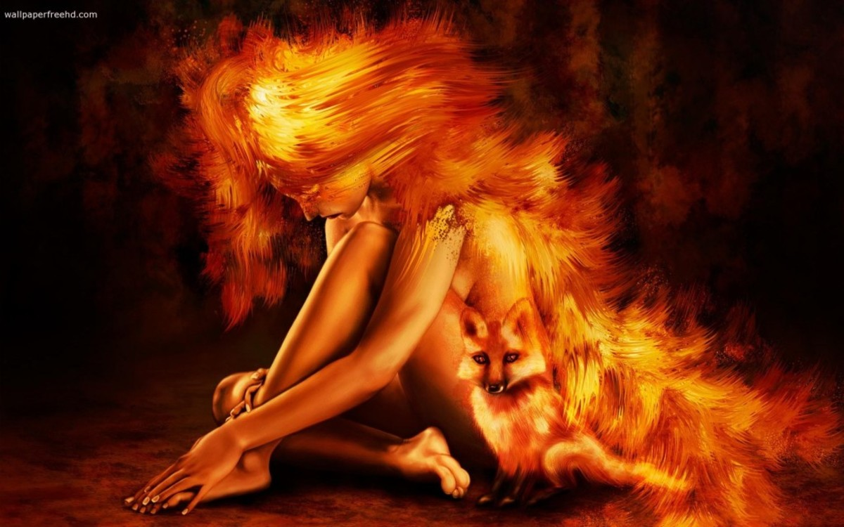 Flame woman and fox