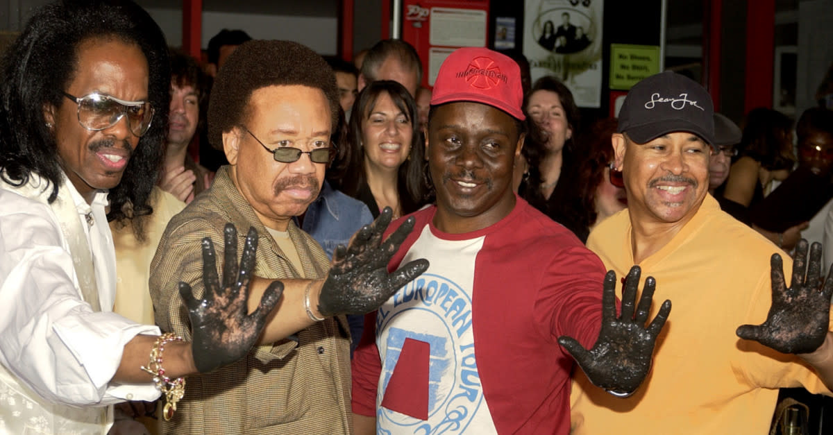The main guys in EWF provide their hand prints
