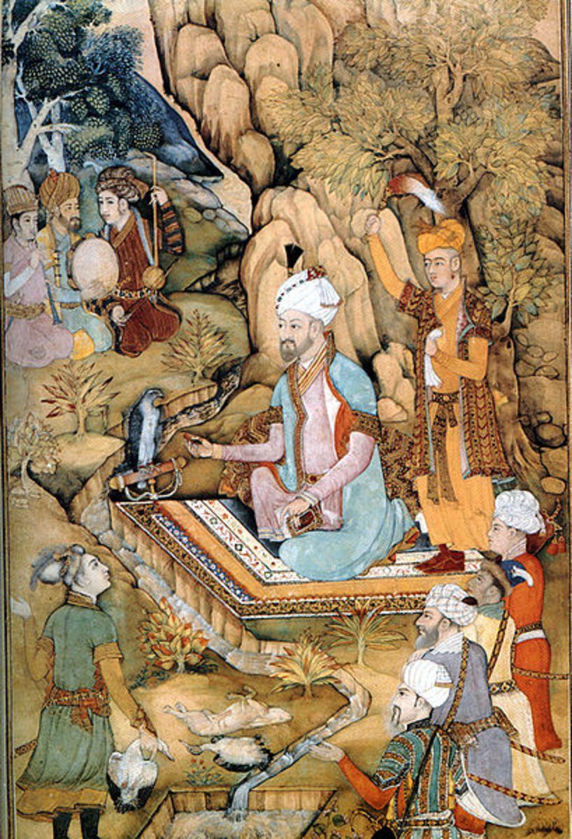 Mughal Emperor Babur wearing a kaftan
