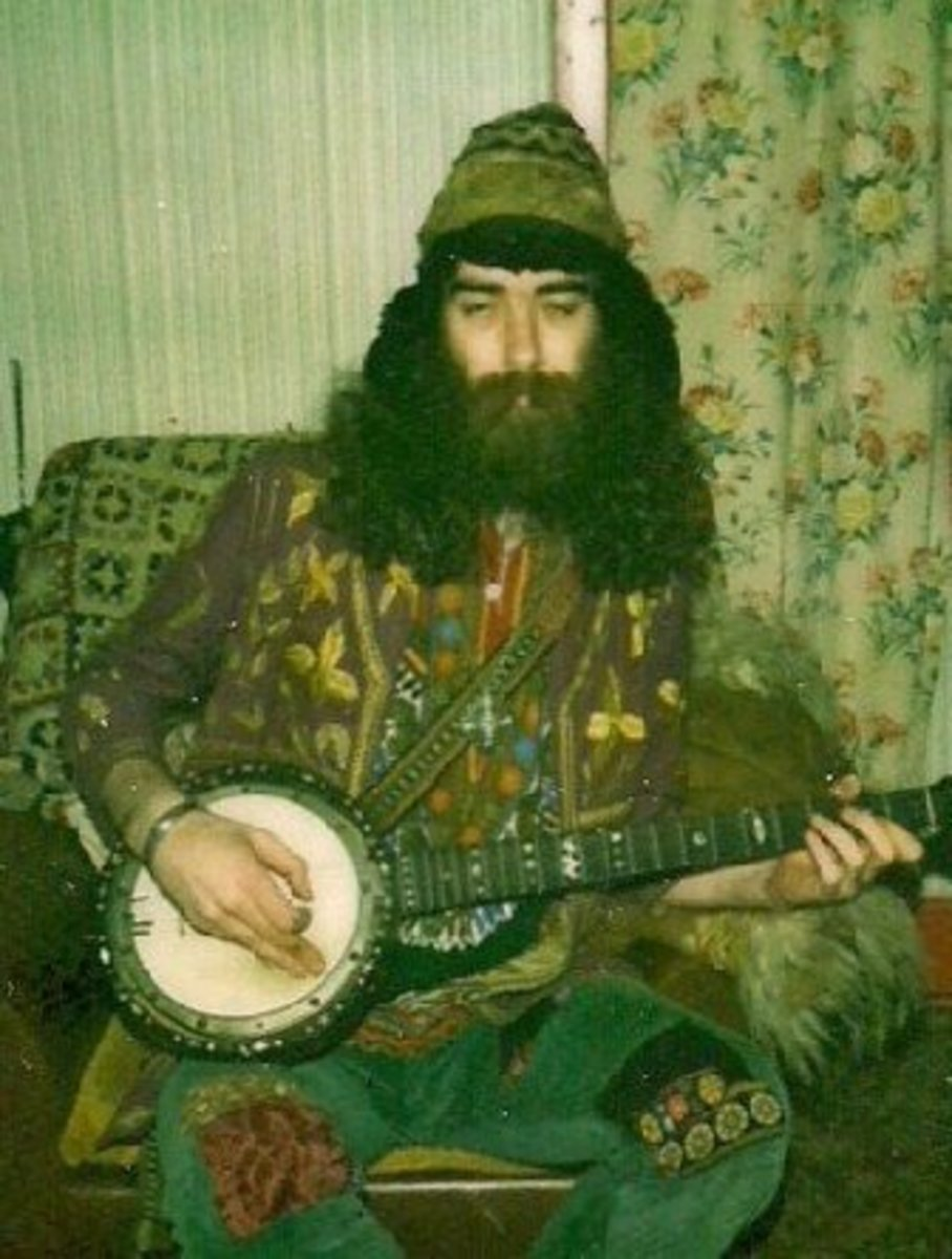 Bard of Ely as he was in the 1970s with kaftans and banjo.