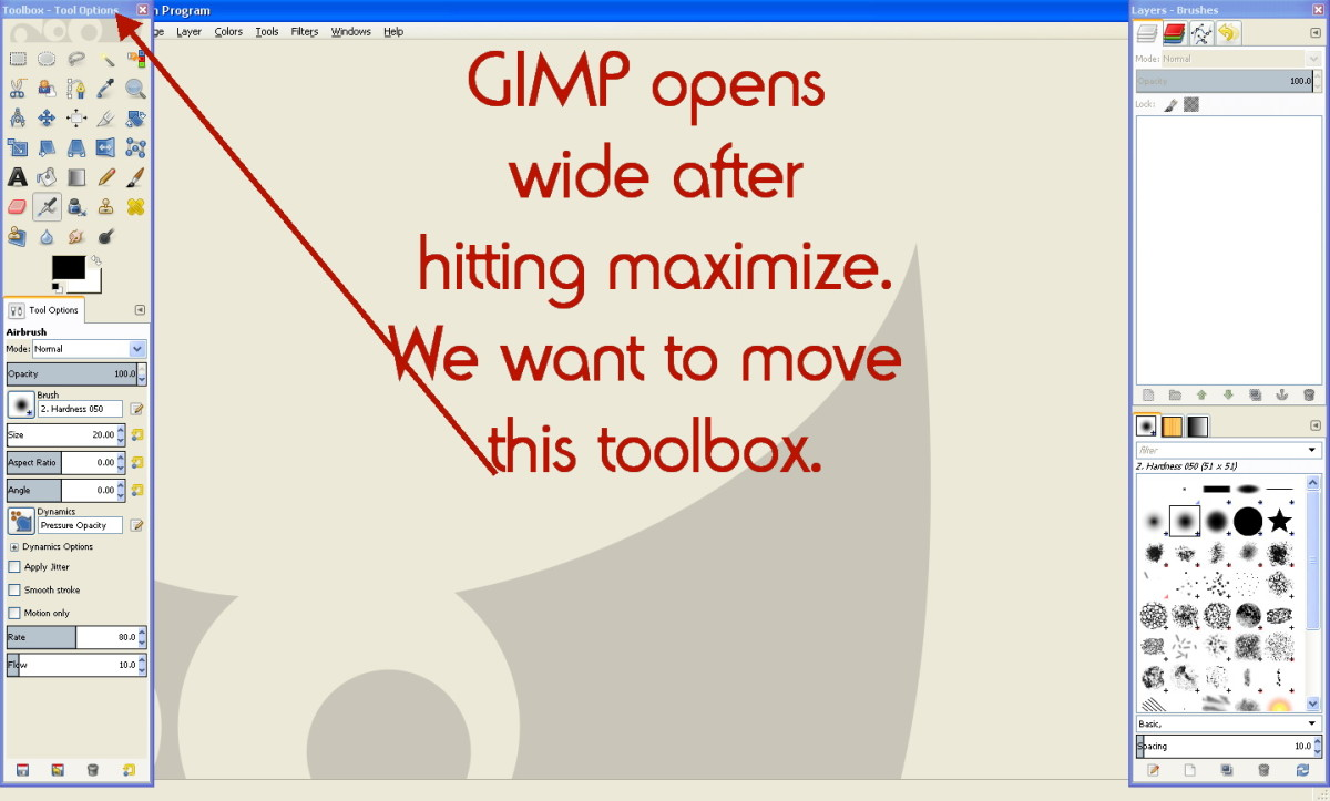 Moving Toolbox in GIMP