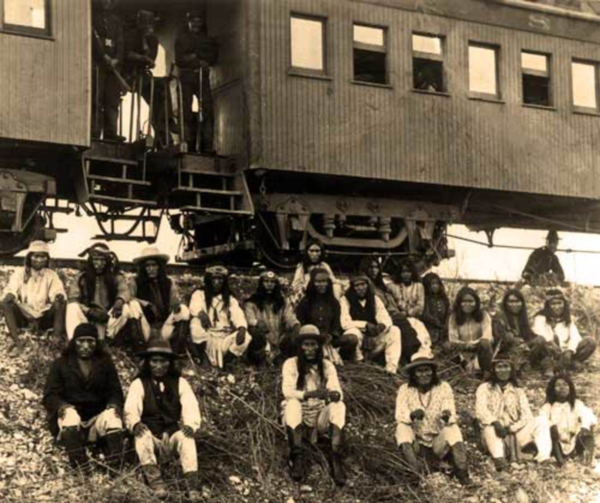 Apache Captives - Geronimo is third from the right in the front row.
