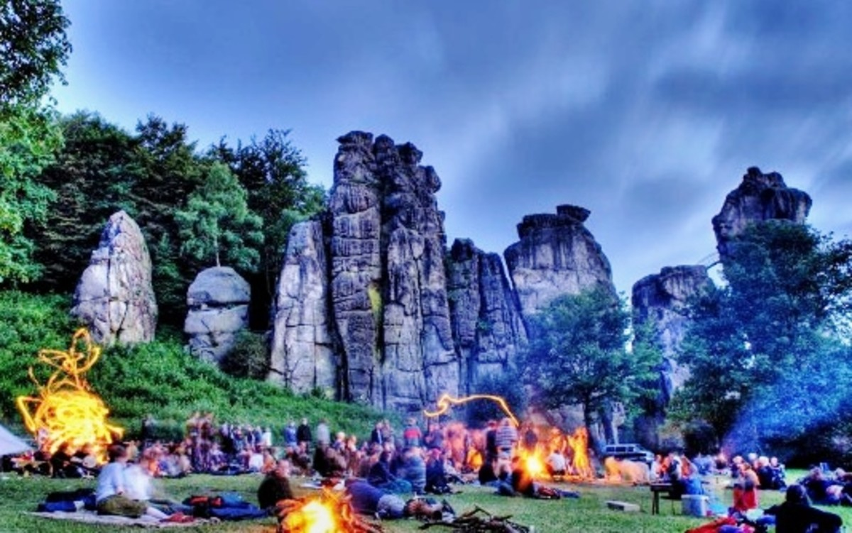 A Summer Solstice neo-pagan celebration at Externsteine