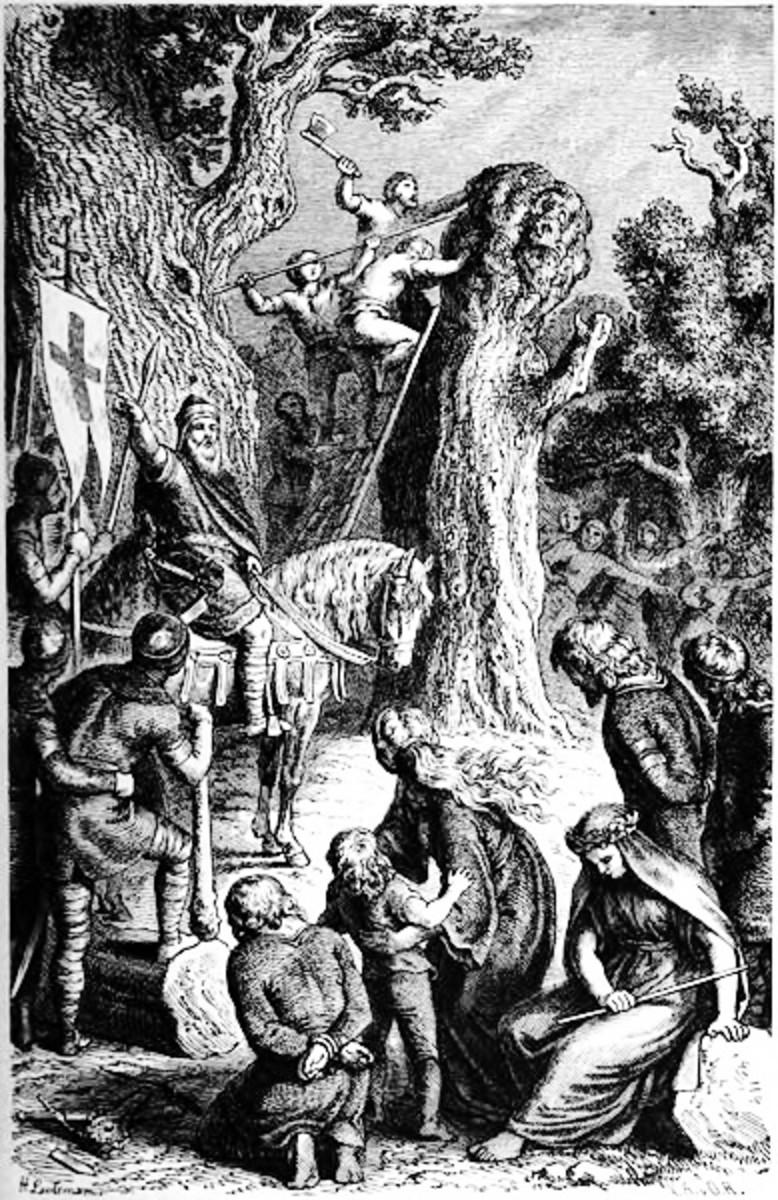"""""""The destruction of Irminsul by Charlemagne"""" (1882) by Heinrich Leutemann"""