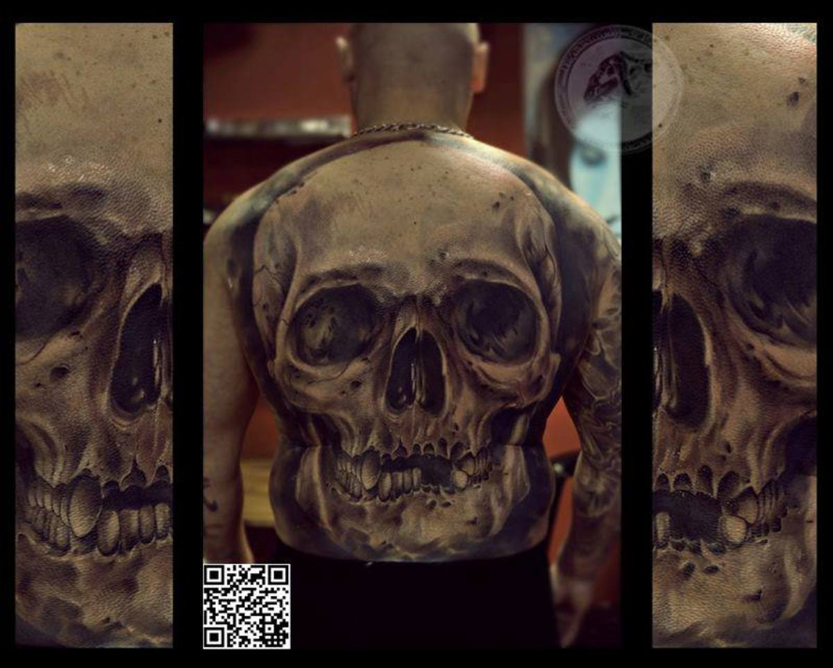Skull back tattoo on male
