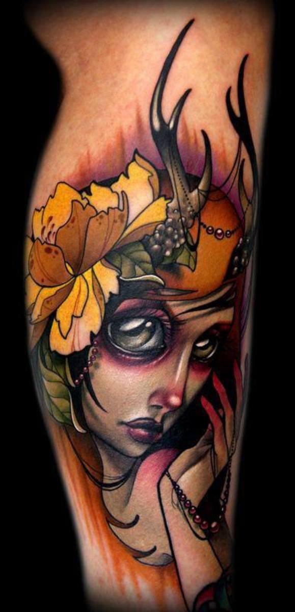 Female tattoo on arm