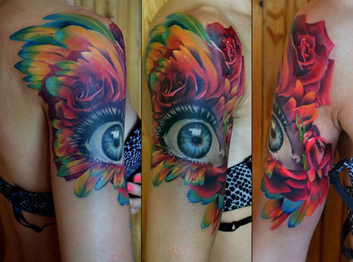 Eye tattoo with feathers