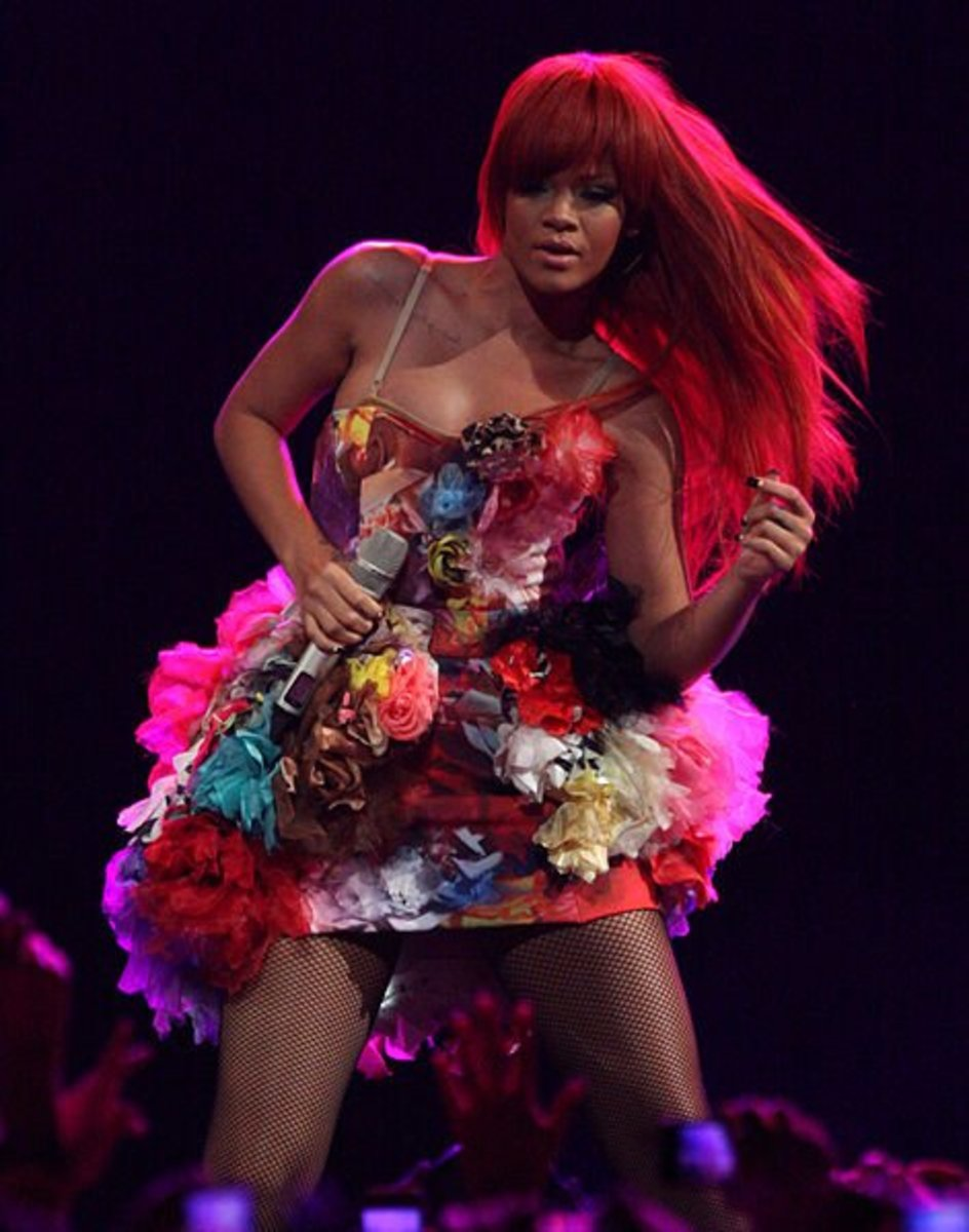 Rihanna in a long, flowing wig.