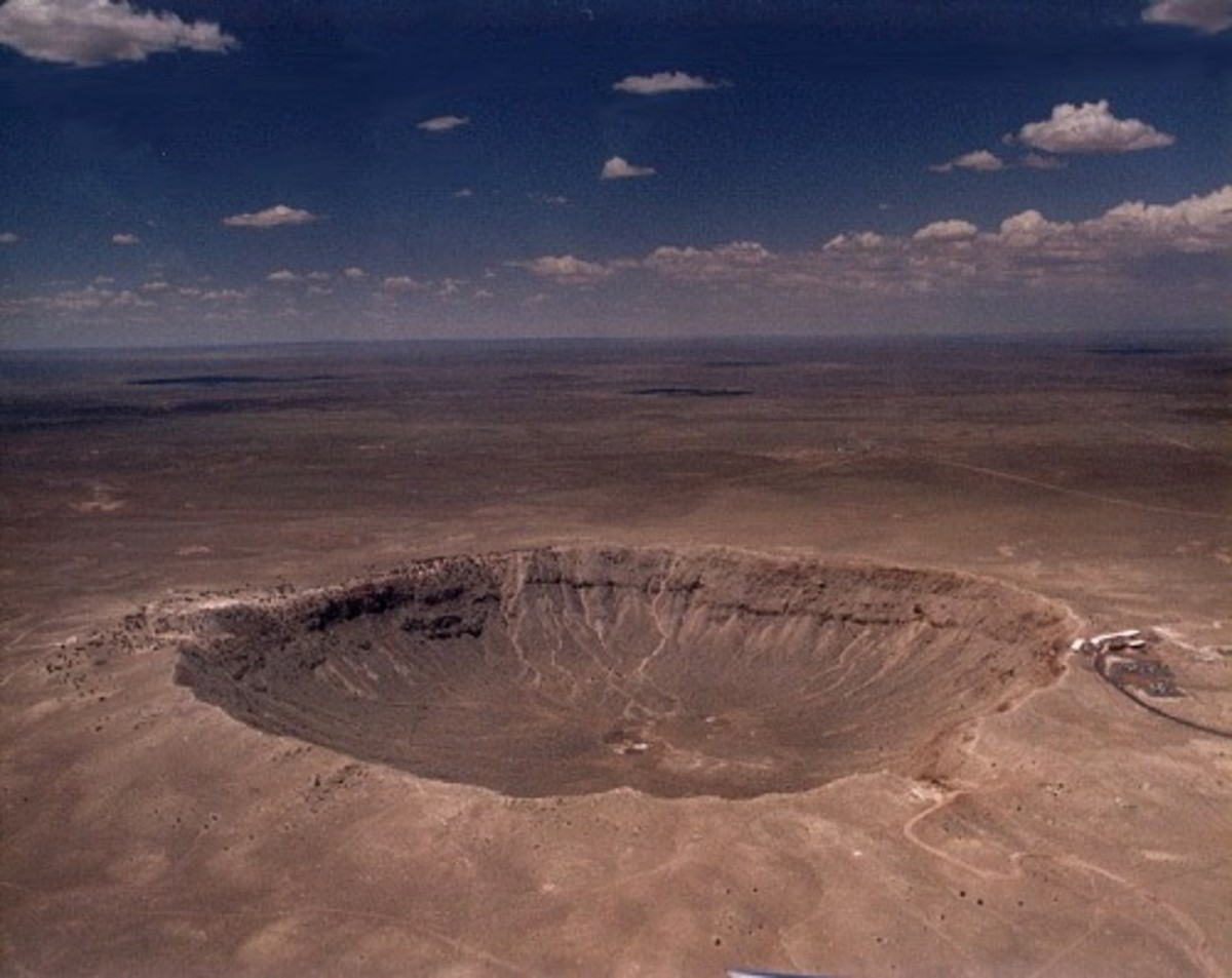 Barringer Meteor Crater. They're not all this big and as easy to find.