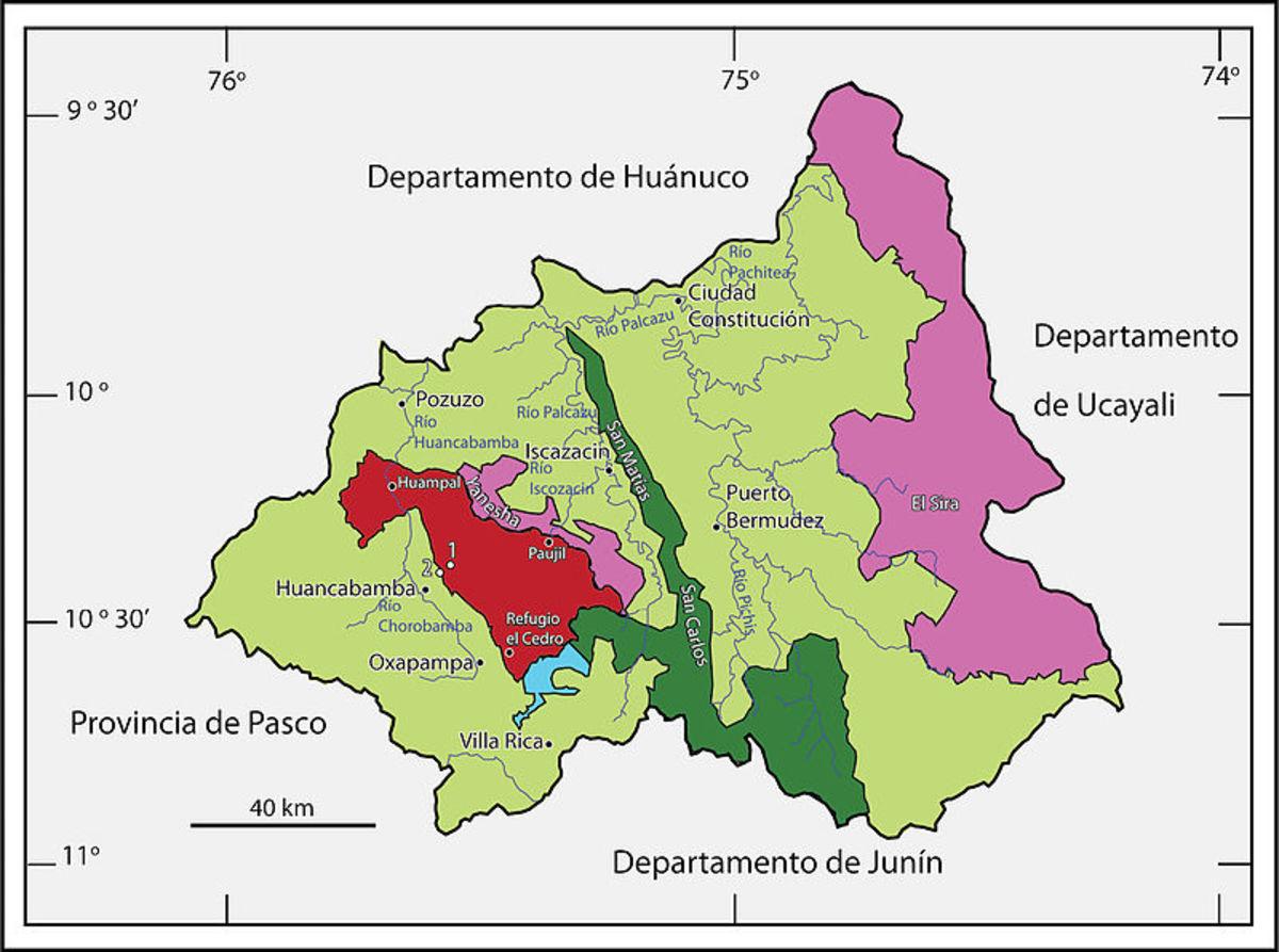 Map of Yanachaga-Chemillen National Park. Source: Lehr E, Moravec J, Cusi JC WMC.