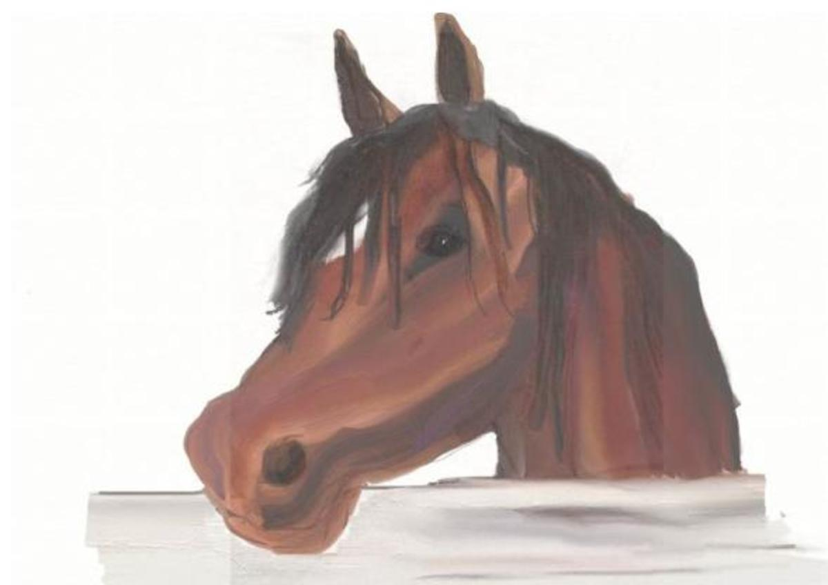 © 2007 Horse by Barn (Sketch was scanned in and sketch was painted in oil style painting using ArtRage