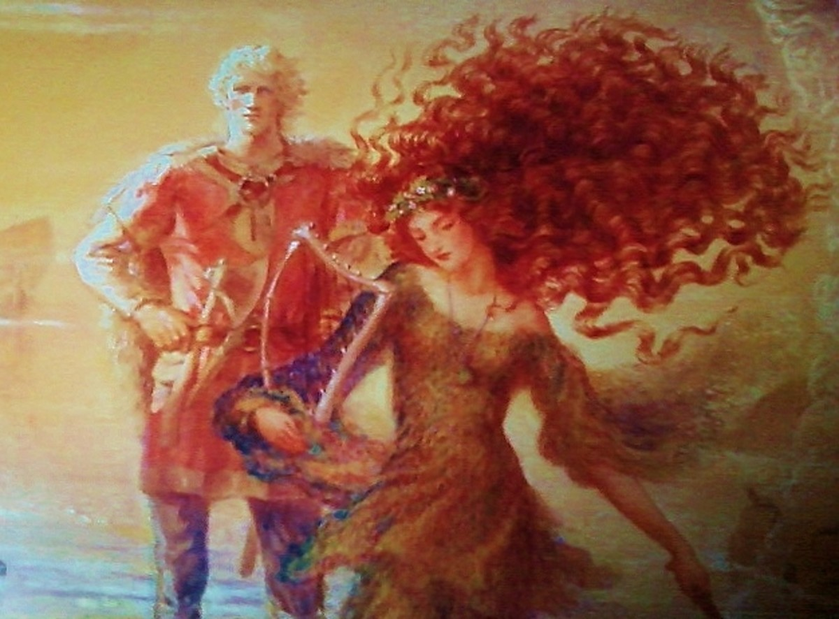 Detail of Evynd and Nessa, with Nessa's flowing hair, and Evynd with magical light shining on him from his right; he wears a weapon in his belt.