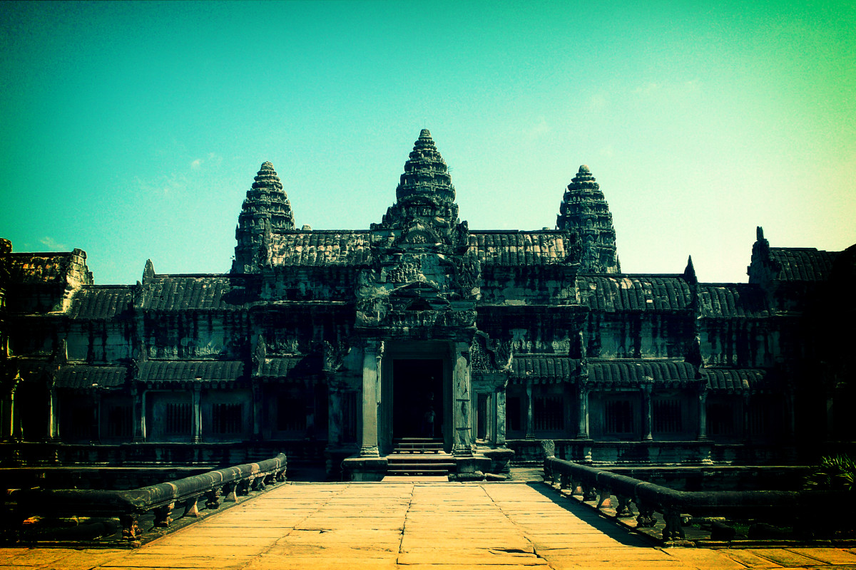 Pine cone shaped Angkor Wat complex in Cambodia.