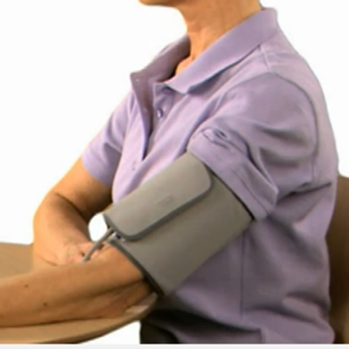 This is the upper arm blood pressure monitor from Omron in position. You can view an Amazon video of this product in use by using the link (above left).