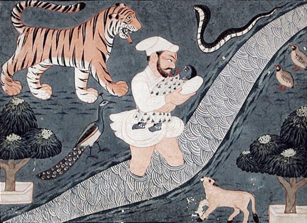 Vasudeva Carrying Krishna over the en:Yamuna River, mid-18th century.