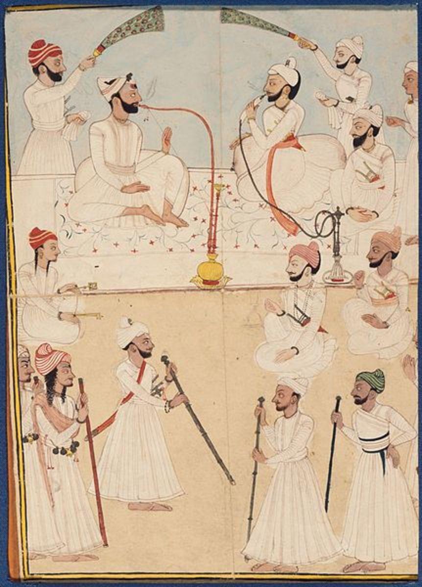 Shamsher Sen of Mandi and Raja Ranjit Suket in Darbar, painting of 1772-1773
