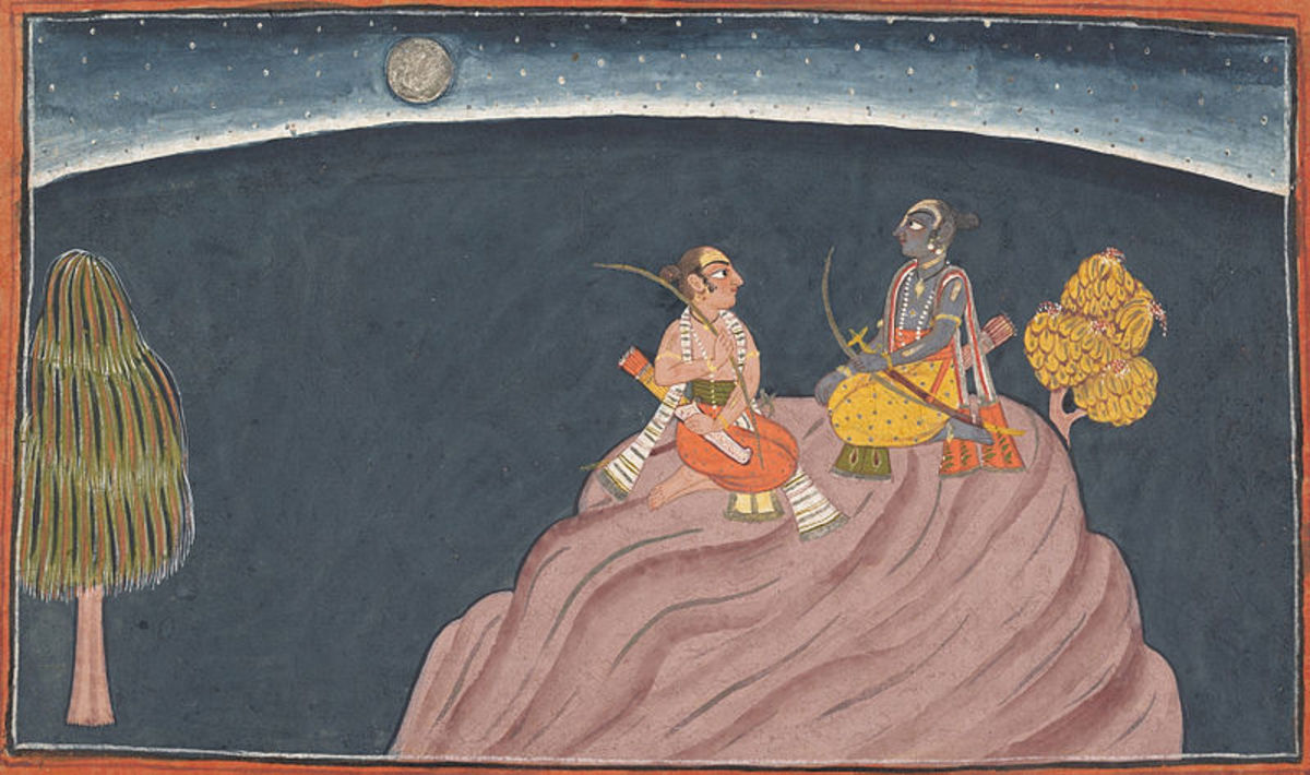 Rama and his brother at the summit of Mount Pavarasana passing a sleepless night after searching for his wife, Sita,