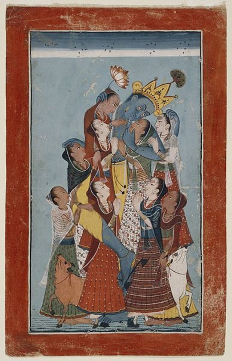 Krishna Embracing the Gopis, 1700-1725