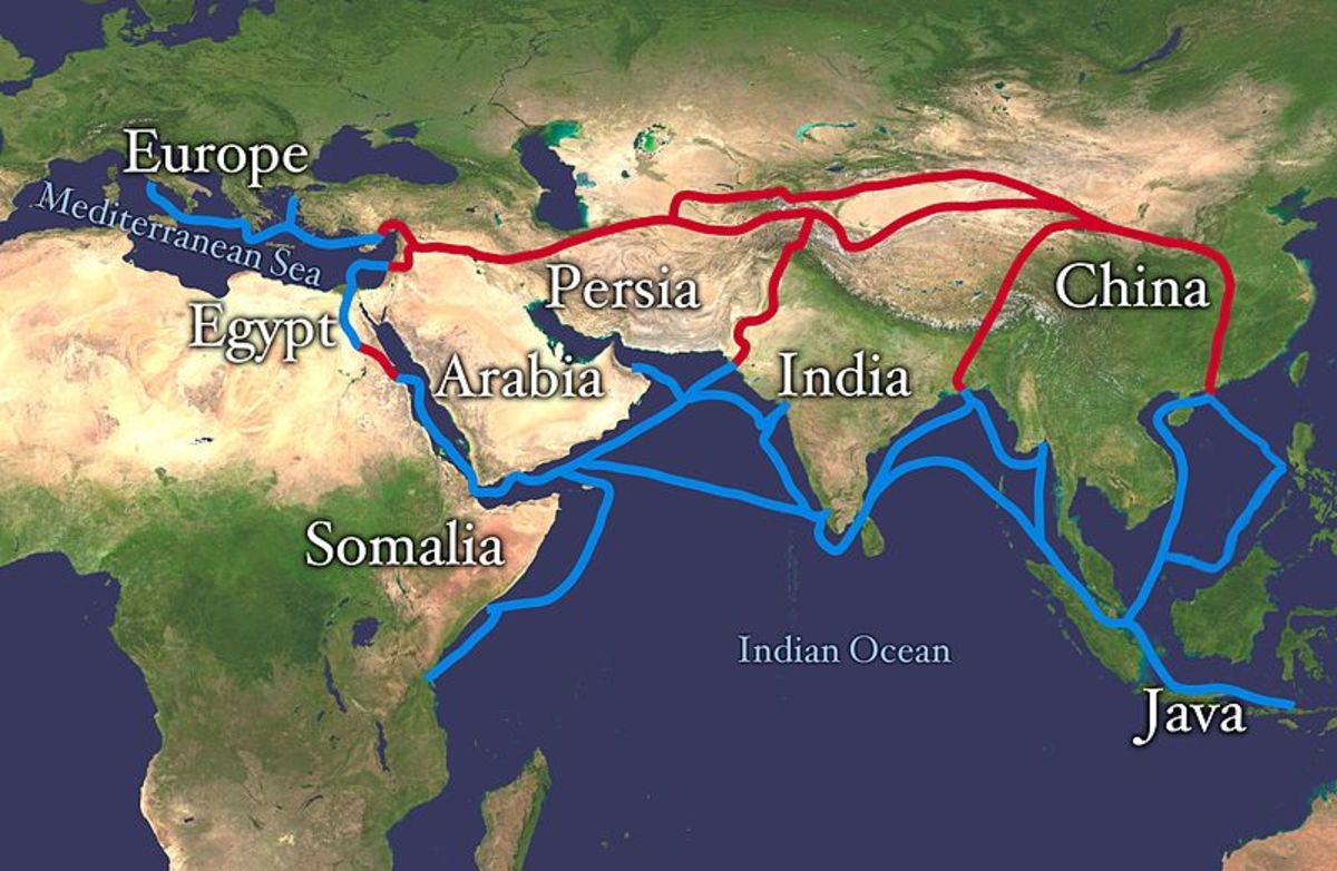 Silk Road  from Europe, Egypt, Somalia, the Arabian Peninsula, Iran, Afghanistan, Central Asia, Sri Lanka, Pakistan, India, Bangladesh, Burma, Java-Indonesia, and Vietnam, China.Red is land route and the blue is the sea water route.
