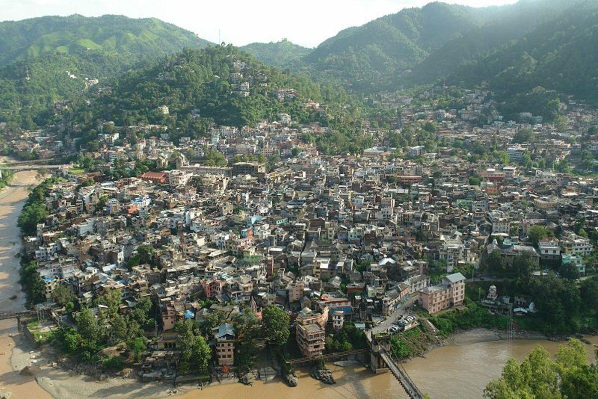 Aerial view of Mandi
